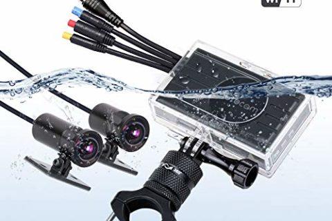 VSYSTO M2F Pro WiFi内蔵 3.0インチ バイクドライブレコーダー 自転車 オートバイ用車載カメラ1080P FHD フロントとリア防水 二重レンズ Sony IMX323センサー170°広角 ダッシュカムふたつのカメラを搭載しているこのドライブレコーダー
