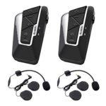 suaoki インカム バイク T9S 2台セット インターコム Bluetooth クリアな音質 長距離通信 連続15時間通話可能 ヘルメットに簡単装着 技適マーク認証済み 防水 音楽 GPS FMなど 12ヶ月保証